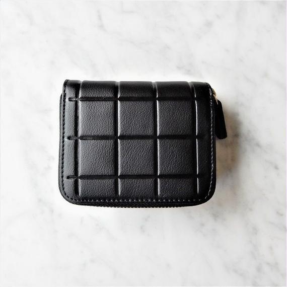 wallet-02036 ブラック 本革レザー 型押しデザイン ミニ財布 小銭入れ付き 二つ折り ミニウォレット