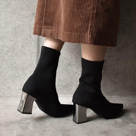 shoes-02031  メタルヒール ポインテッドトゥ ソックスブ-ツ ブラック