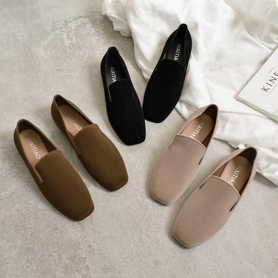 shoes-02051 フェイクスエード オペラシューズ ベージュ カーキ ブラック