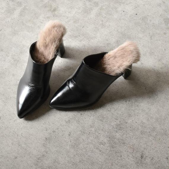 shoes-02045 インナーリアルファー フェイクレザー ポインテッドトゥミュール