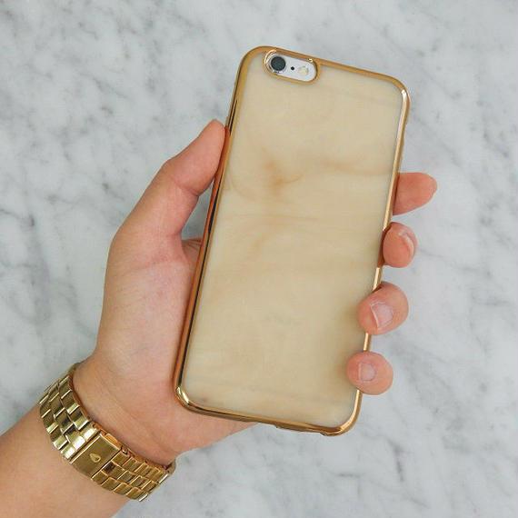 iphone-02169 送料無料! ホワイト ゴールドフレーム マーブル柄 天然石 大理石柄 iPhoneケース