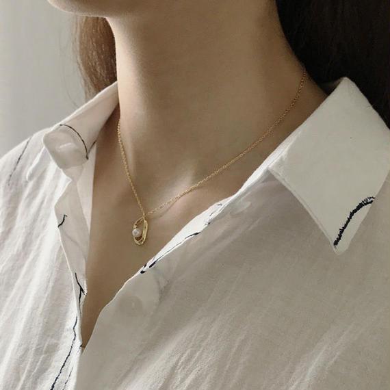 necklace2-02006 送料無料! SV925 ベンドフレーム&パール ネックレス