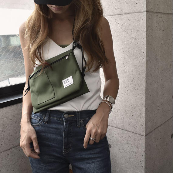 bag2-02388 送料無料! 2重ポケット ナイロン サコッシュ