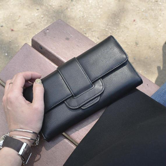 wallet-02058 ベルトデザイン 三つ折り 長財布 小銭入れ付き ウォレット  ブラック