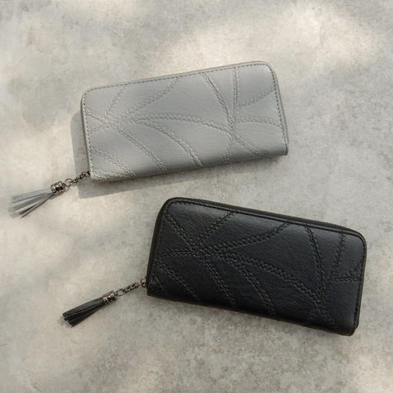 wallet-02056 ピースドワークデザイン 長財布 小銭入れ付き ラウンドジップ ウォレット