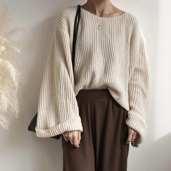 knit-02004 ワイドスリーブ ニットトップス ライトベージュ