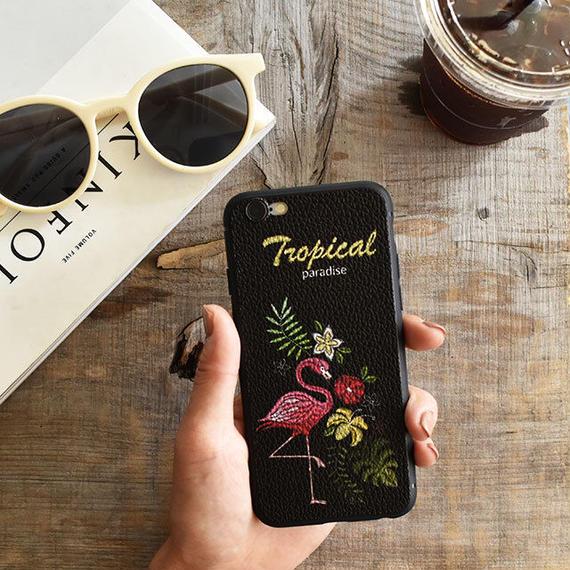 iphone-02468 送料無料! 刺繍風プリント フラミンゴ iPhoneケース