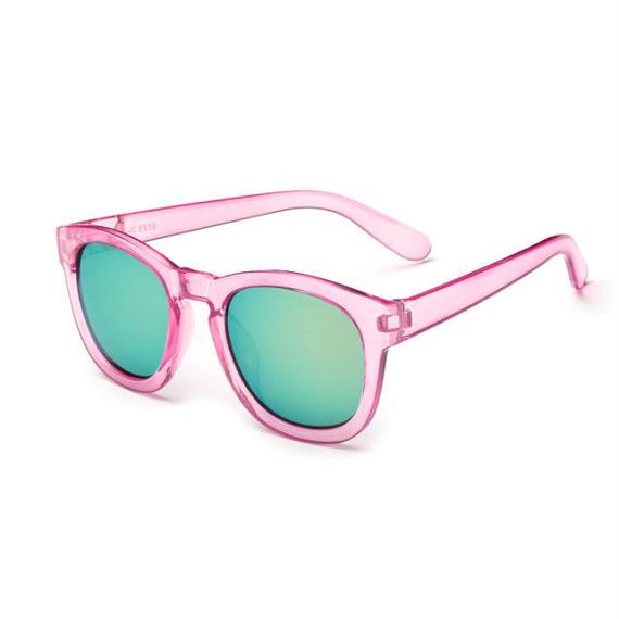 sunglasses-02026 ピンククリアフレーム ウェリントン イエローミラーサングラス