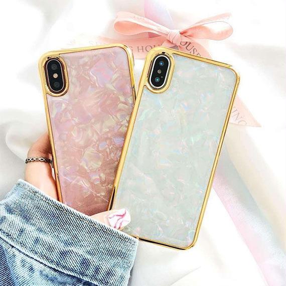 iphone-02455 送料無料! ゴールドフレーム シェルデザイン iPhoneケース