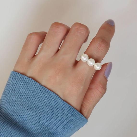 ring2-02009 送料無料! SV925×淡水パール 3パールリング