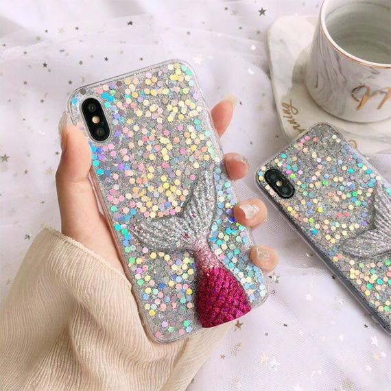 iphone-02465 送料無料! グリッターラメ 立体マーメイド iPhoneケース