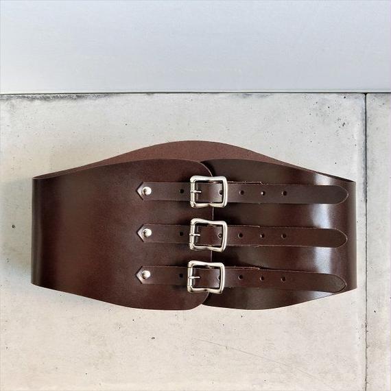 belt-02027 本牛革 ダークブラウン キドニーベルト