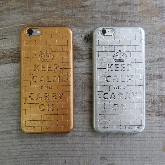 iphone-02176 送料無料! ブロック柄 KEEP CALM AND CARRY ON iPhoneケース