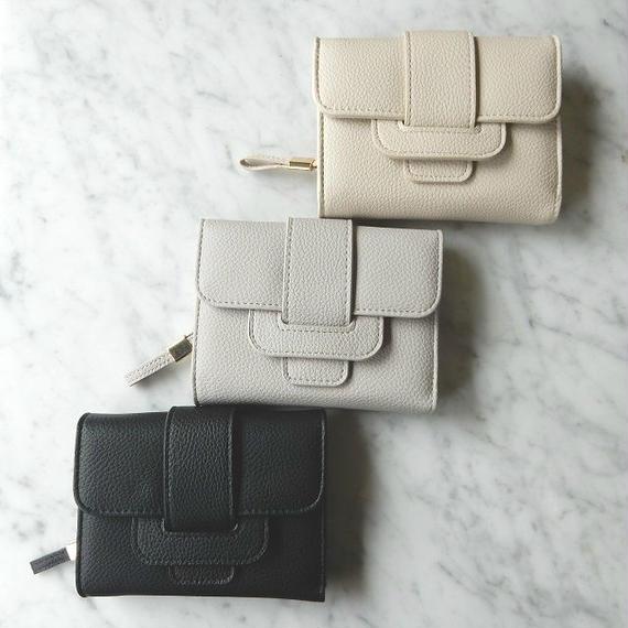 wallet-02005 ベルトデザイン ミニ財布 小銭入れ付き 三つ折り ミニウォレット
