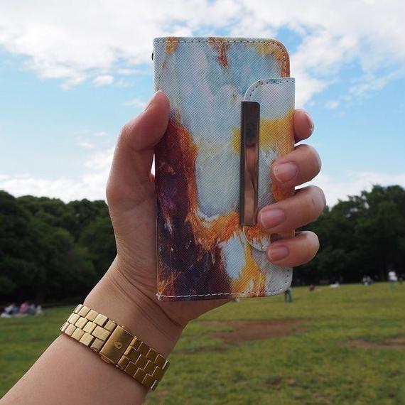 iphone-02151 送料無料! 手帳型 ブルー 大理石柄 マーブル柄 天然石柄 ストーン柄 iPhoneケース