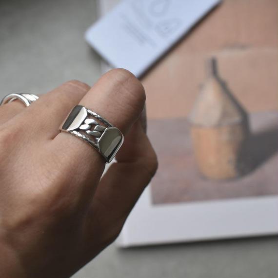ring2-02026 送料無料 SV925 チェーン&プレートデザインリング シルバー925リング