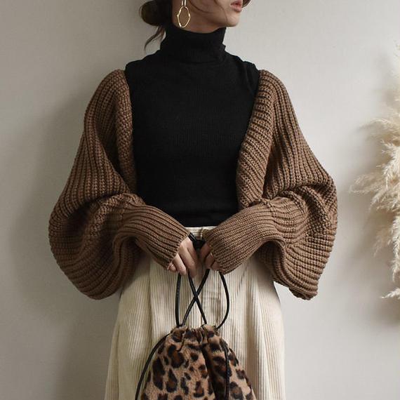 knit-02002 ボリュームスリーブ ボレロニットカーディガン ブラウン ベージュ