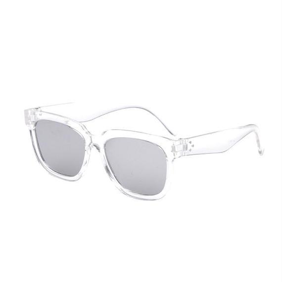 sunglasses-02025 クリアフレーム ウェリントン シルバーミラーサングラス