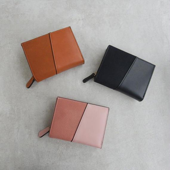 wallet-02049 バイカラー異素材使い ミニ財布 小銭入れ付き 三つ折り ミニウォレット