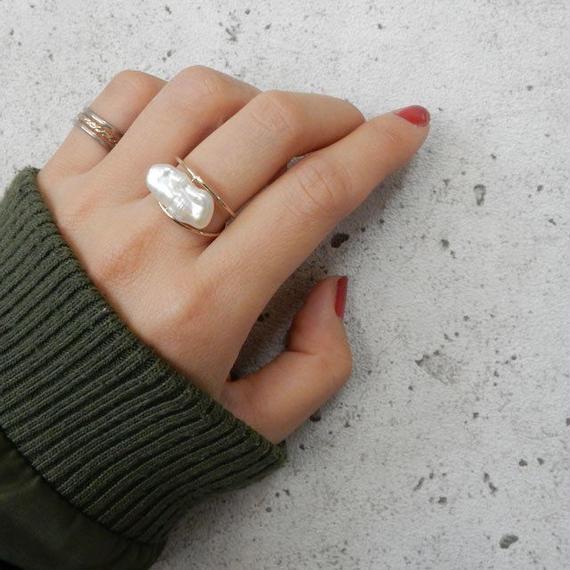 ring2-02001 送料無料! 淡水パール Loquat型 オリジナルリング 12号 日本製 ハンドメイド ☆ WA04