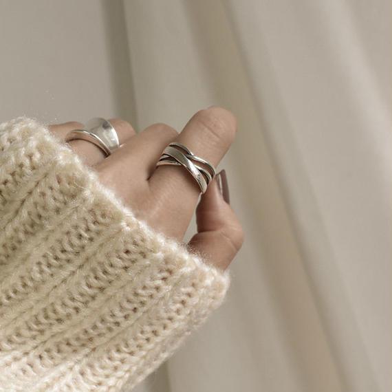 ring2-02055 送料無料! SV925 多重クロスリング シルバー925