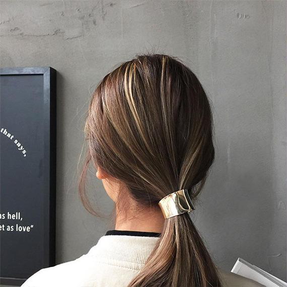 hair-02073 送料無料! ハーフメタルヘアカフス ヘアポニー リングポニー カフポニー ゴールド シルバー