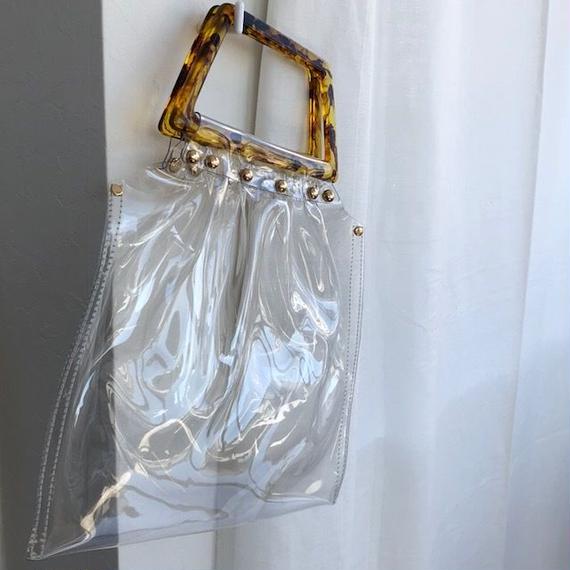 bag2-02329 スクエアハンドル PVC素材 クリアバッグ
