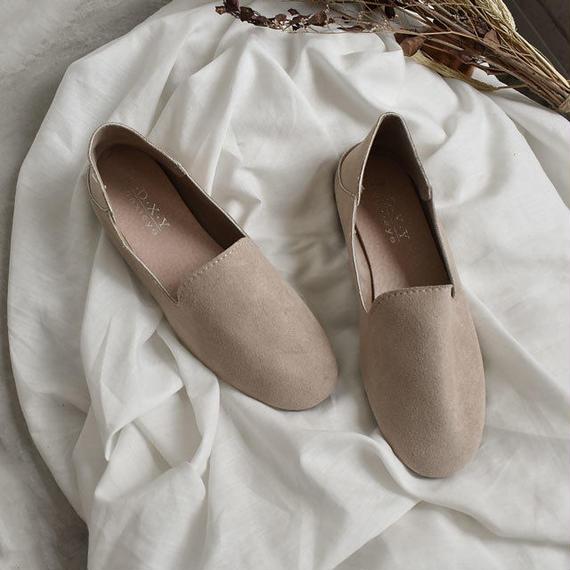 shoes-02029  フェイクソフトスエード スリッポン バブーシュ ベージュ