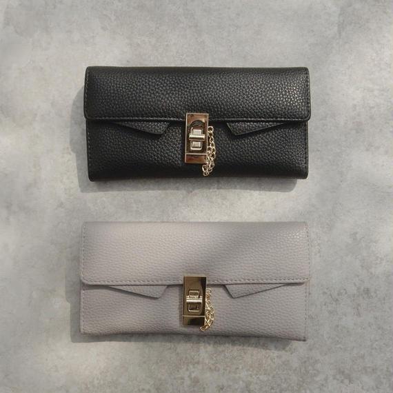 wallet-02053 金具&チェーンデザイン 長財布 小銭入れ付き ウォレット