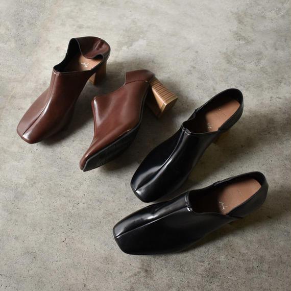 shoes-02049 フェイクレザー チャンキーヒール バブーシュ シューズ ブラウン ブラック