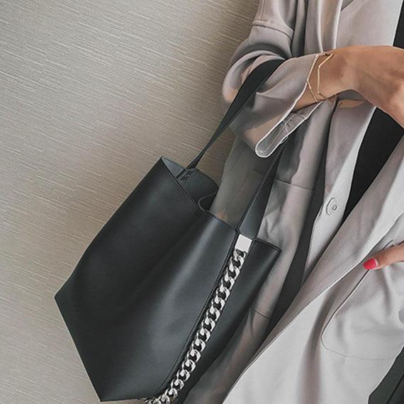bag2-02292 チェーンデザイン ショルダーバッグ 巾着付き