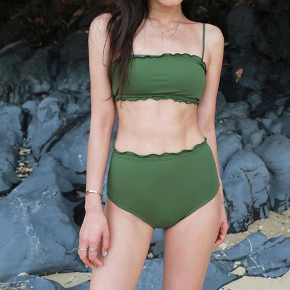 swim-02195 カーキーグリーン フリル シンプル 水着 レディース カップ付き バンドゥビキニ