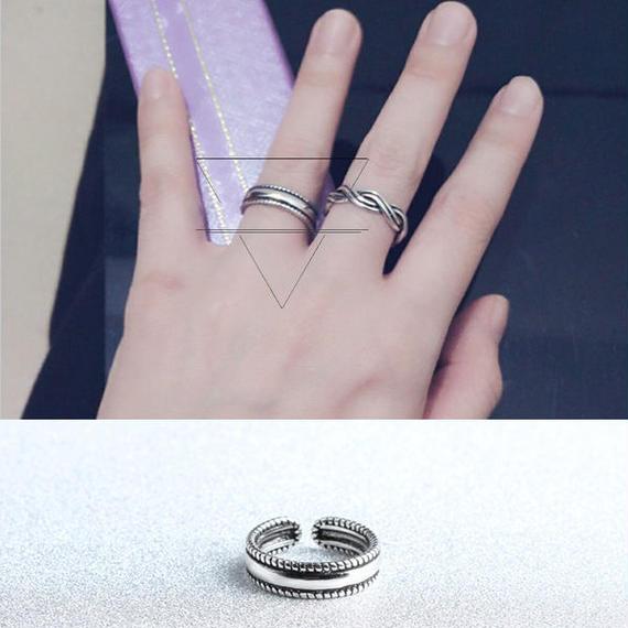 ring-02108 送料無料! シルバーロープフレームリング 指輪 10号から上にサイズ調整可能