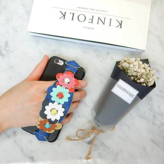 iphone-02259 送料無料! フラワーベルト付き 落下防止 iPhoneケース