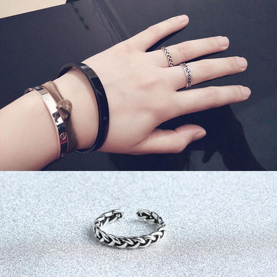 ring-02112 送料無料☆ シルバー華奢ライン編み込みチェーンリング 指輪 7号から上にサイズ調整可能