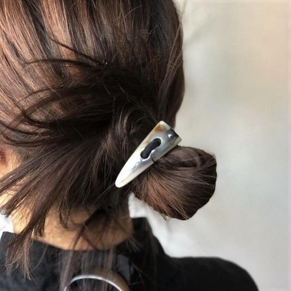 hair2-02002 送料無料! マーブルバッファローホーンヘアゴム   ☆WA04