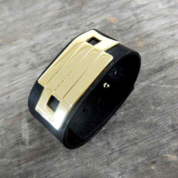 brace-02181  送料無料! 本革レザー ゴールドプレートレザーブレスレット レザーバングル ブラック