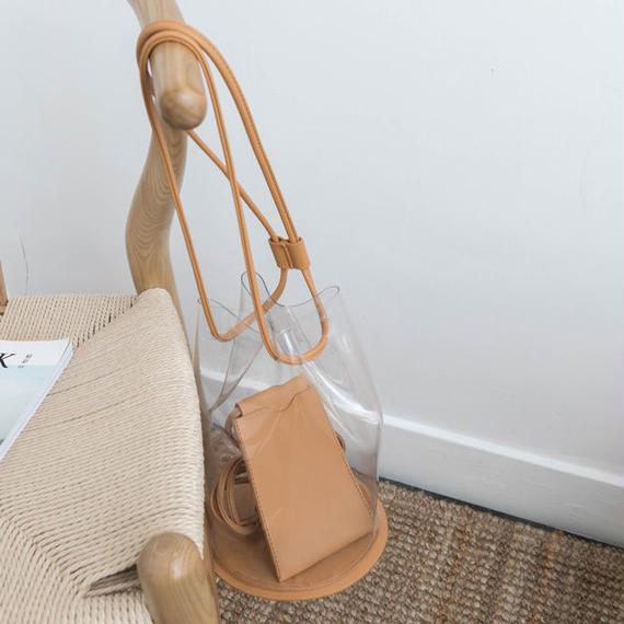 bag2-02358 PVC巾着ショルダークリアバッグ 巾着袋&スマホケース付き ヌードカラー ブラック