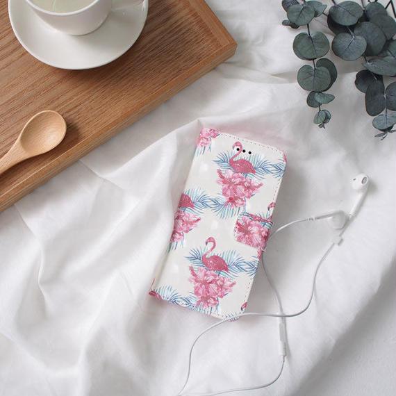 iphone-02423 送料無料! 手帳型 フラミンゴ柄 カード収納付き iPhoneケース