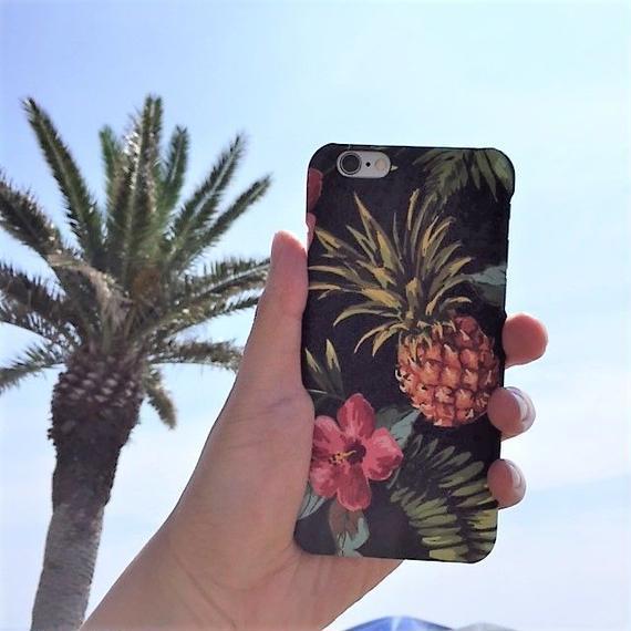 iphone-02366 送料無料! トロピカル柄 パイナップル ハイビスカス iPhoneケース