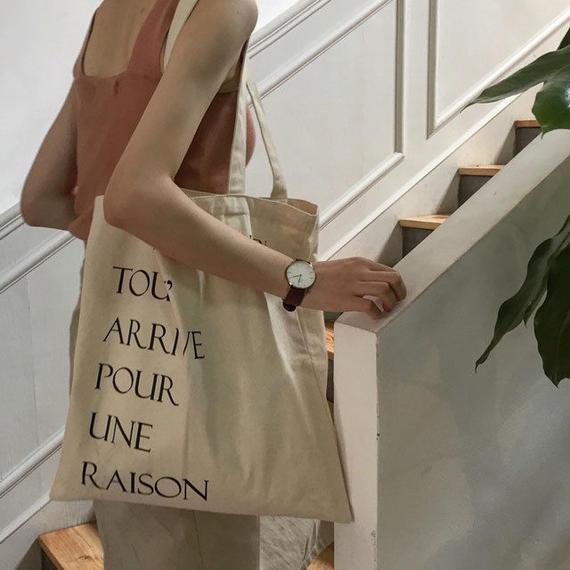 bag2-02279 送料無料! TOUT ARRIVE POUR UNE RAISON Tote Bag トートバッグ エコバッグ