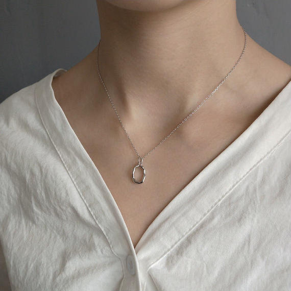 necklace2-02004 送料無料! SV925 ベンドオーバルトップ ネックレス シルバー
