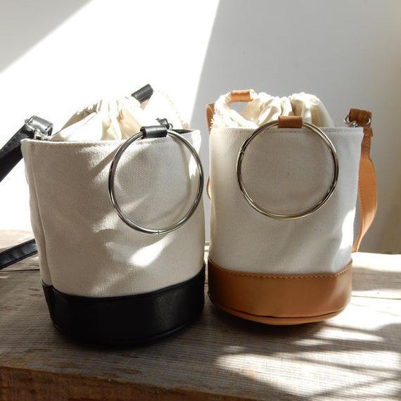bag2-02301 キャンバス×フェイクレザー リングハンドル バケツバッグ ショルダー付き