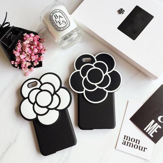 iphone-02241 送料無料! ビッグフラワー ブラック ホワイト iPhoneケース