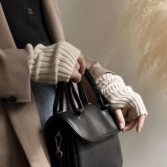 gloves-02002 送料無料! ワイドリブタイプ リブアームウォーマー アイボリー ブラウン グレー ブラック