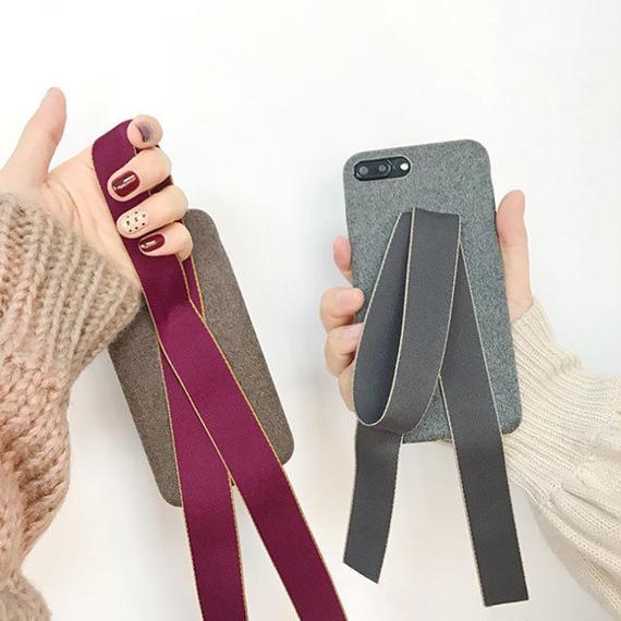 iphone-02430 送料無料! リボン付き 落下防止 iPhoneケース
