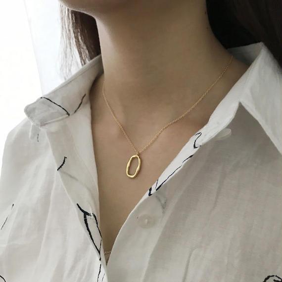 necklace2-02003 送料無料! SV925 ベンドオーバルトップ ネックレス ゴールド