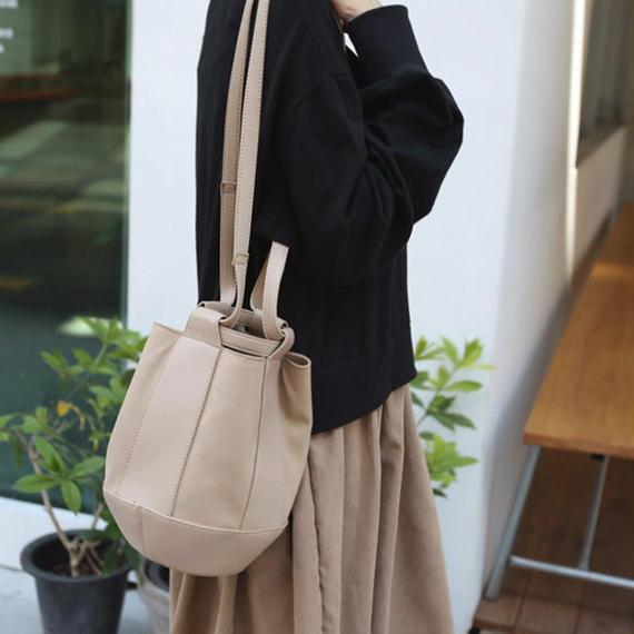 bag2-02356 異素材使い バケツ型ショルダーバッグ ハンドバッグ