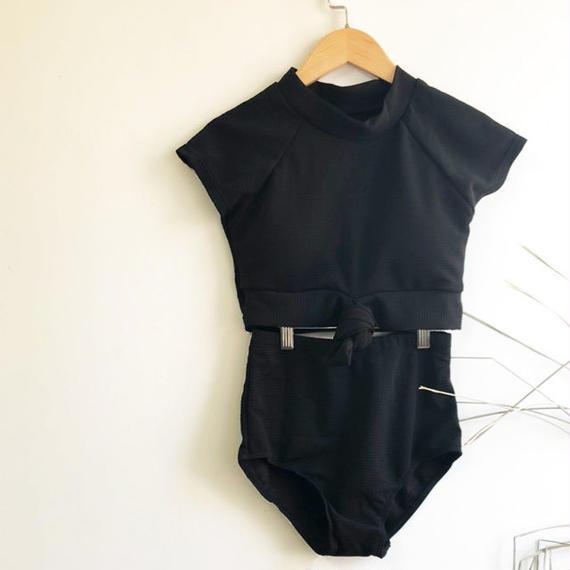 swim-02017 カップ付きラッシュガード 半袖 タンキニ 水着 スイムウェア ブラック レディース 2点セット セパレート