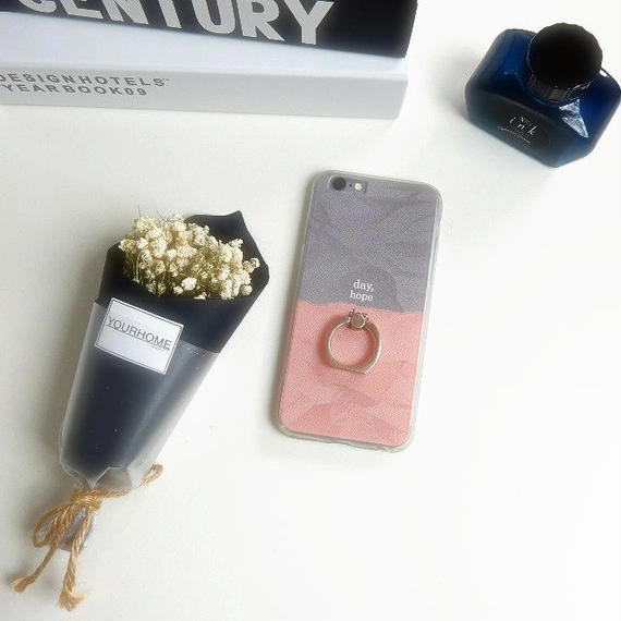 iphone-02272 送料無料! バンカーリング付き バイカラー ピンク×グレー iPhoneケース